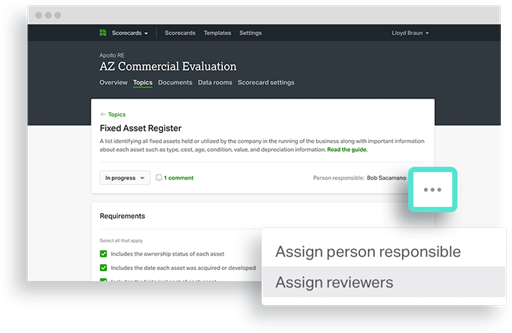 Ansarada UI showing responsibility and reviewer assigning tool
