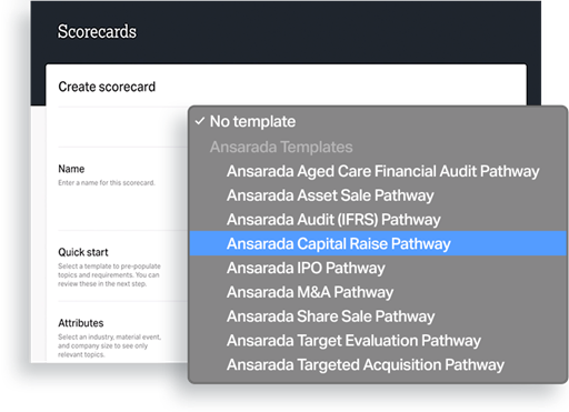 UI of scorecard 'Ansarada capital raise pathway is selected'