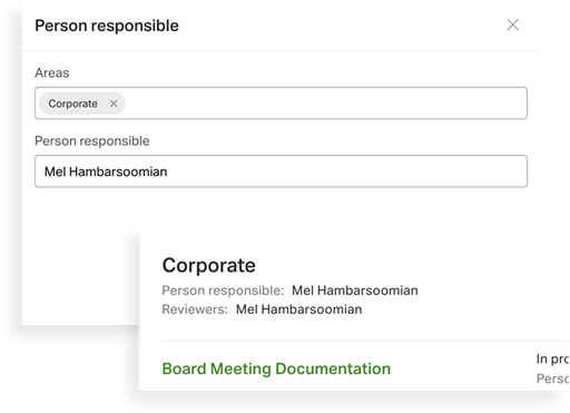 workflow management tool showing assigning responsibilities UI
