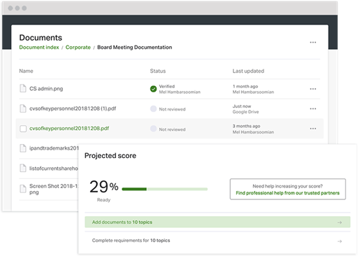 Ansarada platform UI displaying virtual data room documents and projected readiness score
